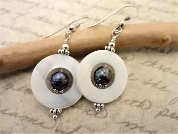 Peacock Pearl Earrings, Mother of Pearl Earrings, White and Gray Gemstone Earrings, Gift for Wife, Gift for her, Unique Gemstone Jewelry
