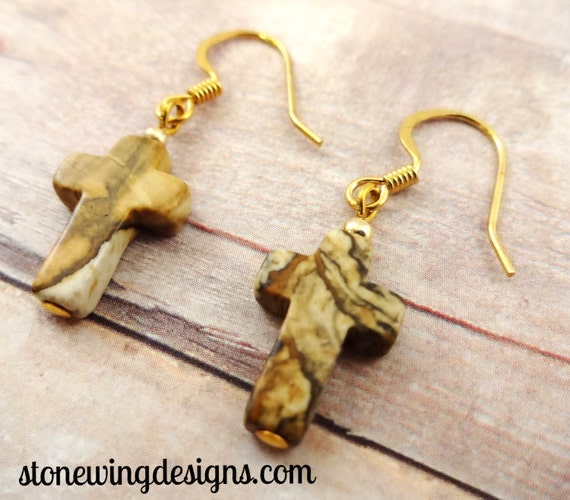 Picture Jasper Cross Earrings
