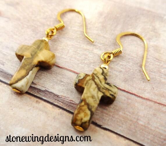 Picture Jasper Earrings, Cross Earrings, Stone Cross Earrings, Brown Earrings, Gemstone Earrings, Gemstone Cross Earrings, rustic earrings