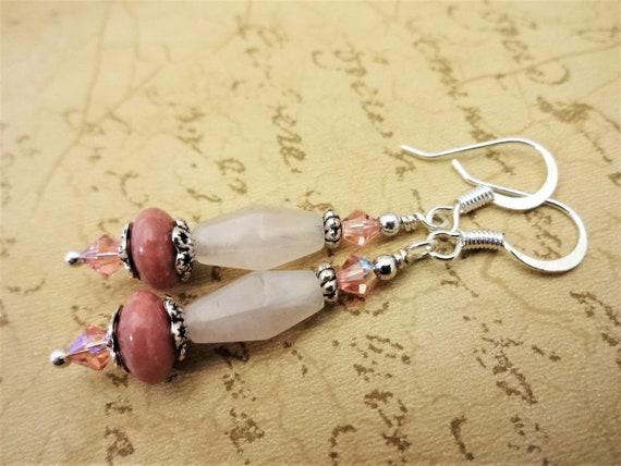 Rose Quartz and Rhodonite Earrings, Pink Gemstone and Crystal Earrings, Pink Gemstone Jewelry, Gift for Her