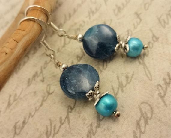 Apatite Gemstone Earrings, Blue Apatite Stone Earrings, Blue Gemstone Jewelry, Gemstone and Pearl Earring