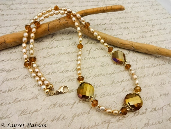 Brown and Taupe Pearl Necklace, Pearl and Czech Glass Necklace, Gift for Her, Gift for Mom