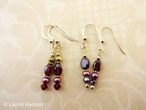 Red Garnet, Pearl and Crystal Earrings, Garnet and 14K Gold Fill Earrings, January Birthstone, Gift for Her