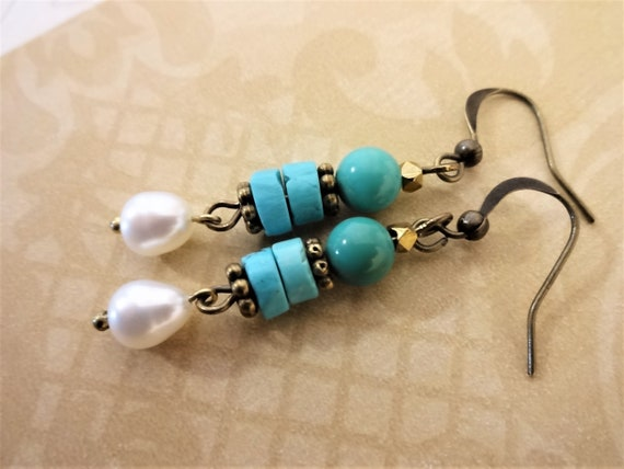 Turquoise and Pearl Earrings with Antique Brass Metals, Rustic Boho Earrings, Gift for Her