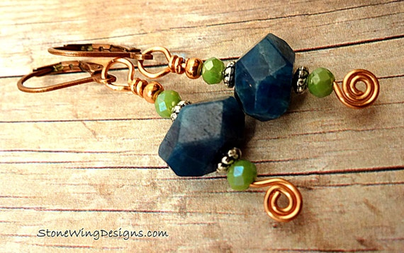 Blue Apatite and Green Czech Firepolish Boho Gemstone Earrings
