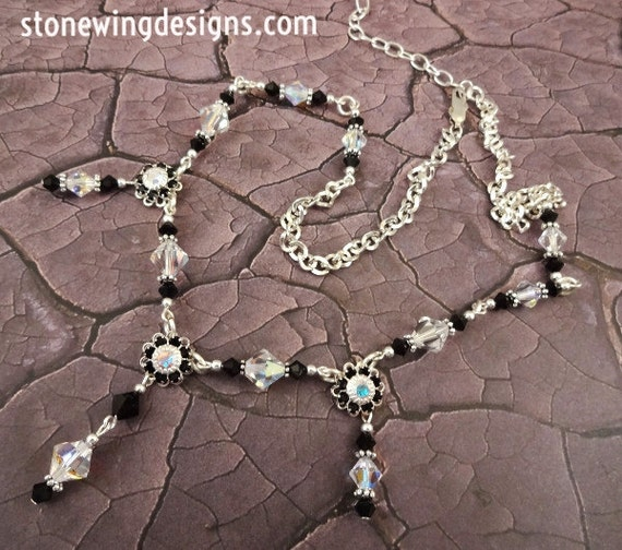 Black and White Swarovski Crystal Flower Necklace