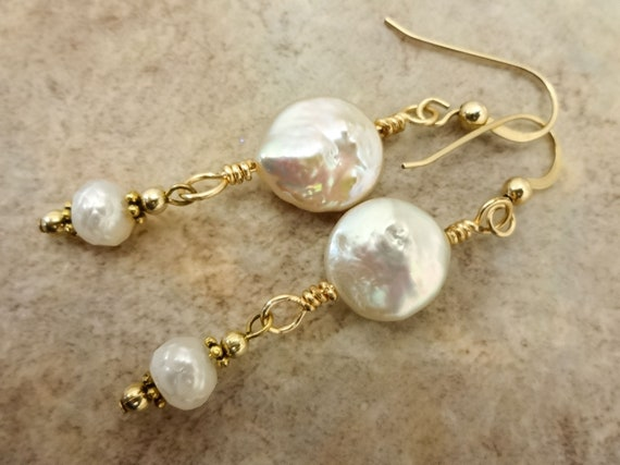Pearl Earrings, Coin Pearl Dangle Earrings, Bridal Jewelry, Bridal Earrings, Wedding Jewelry, White Coin Pearl Earrings