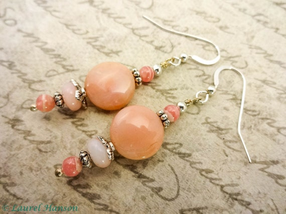 Pink Peruvian Opal and Rhodochrosite Earrings, Pink Gemstone Earrings, Feminine Jewelry, For Her, Gift for Mom, Gift for Wife