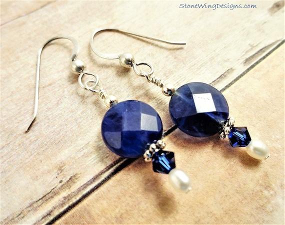 Sodalite, Pearls and Swarovski Crystal Earrings