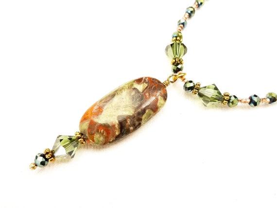 Mushroom Jasper, Swarovski and Czech Firepolish Casual Necklace, Gift for Girlfriend, Bohemian Necklace