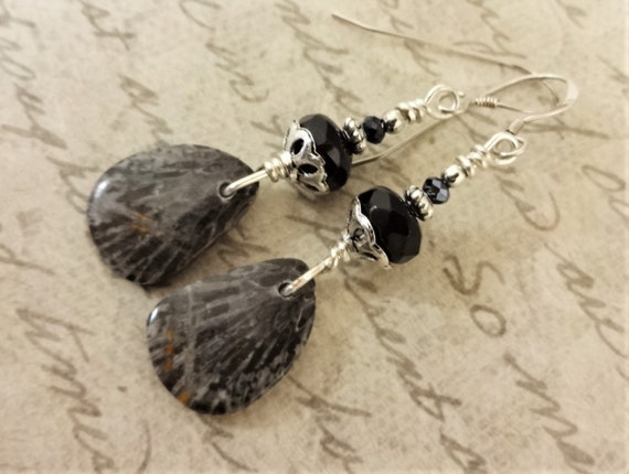 Fossil Coral Earrings, Black and Gray Earrings, Fossil Coral and Black Onyx Stone Earrings, Gift for Her