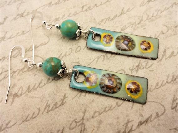 Artisan Enamel and Turquoise Gemstone Earrings, Boho Earrings, Aqua Enamel and Turquoise Earrings, Gift for Her