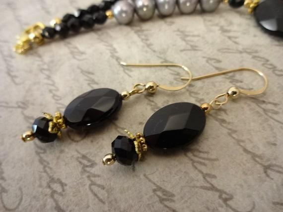 Black Onyx Earrings, Black Onyx and 14K Gold Fill Earrings, Black Dangle Earrings, Gift for Wife, Gift for Her