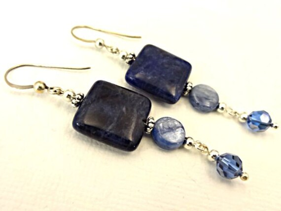 Sodalite, Kyanite and Swarovski Crystal Earrings