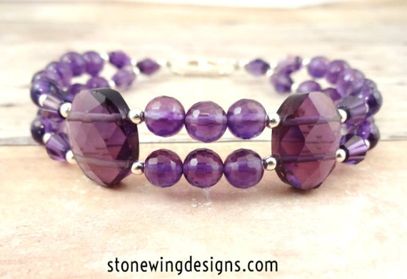 Amethyst Bracelet, Amethyst Jewelry, Purple Bracelet, February Birthstone, Amethyst Gemstone, Birthday Gift, Gift for Wife, Ultra Violet