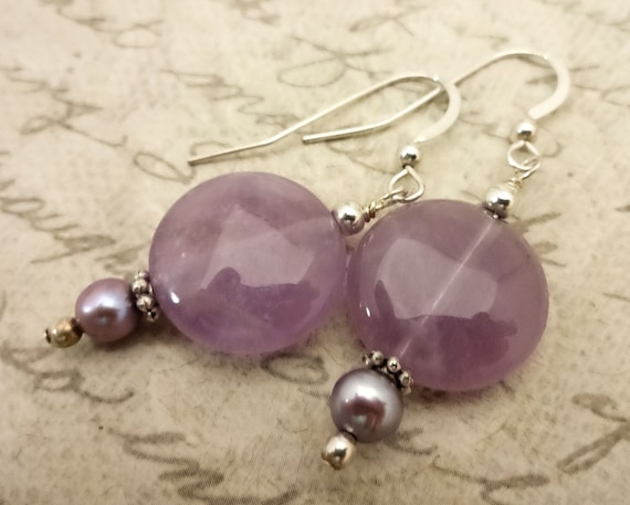 Amethyst and Lavender Pearl Earrings, February Birthstone, Birthstone Earrings, Lavender Amethyst Gemstone Jewelry