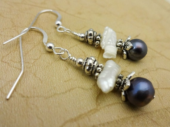 White and Peacock Pearl Earrings, Biwa Pearl Earrings, Pearl Jewelry, Unique Pearl Earrings, Gift for Her