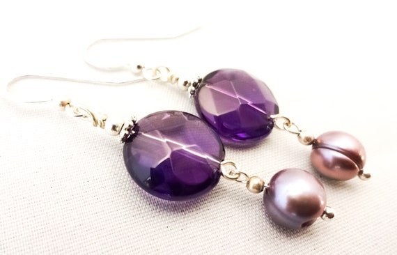 Amethyst Earrings, February Birthstone, Birthstone Earrings, Gemstone Earrings, Purple Earrings, Dark Amethyst, Ultra Violet Jewelry