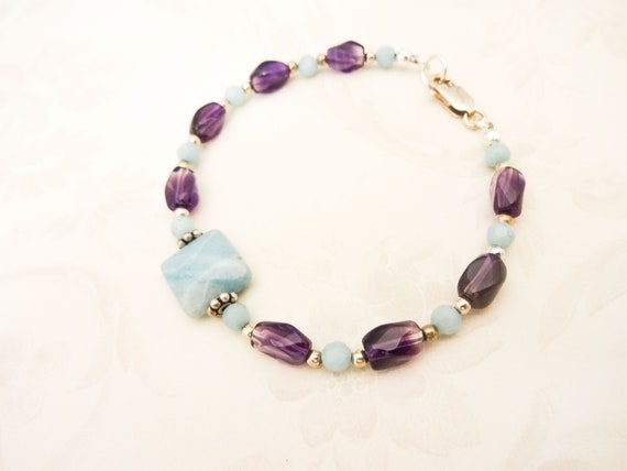 Amethyst and Amazonite Gemstone Bracelet, Amethyst - February Birthstone - Perfect Birthday Gift for Her
