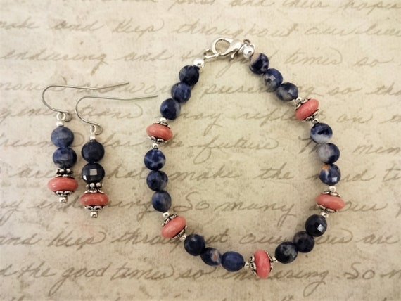 Rhodonite and Sodalite Bracelet and Earring Set, Pink and Blue Stone Jewelry Set, Gift for Her