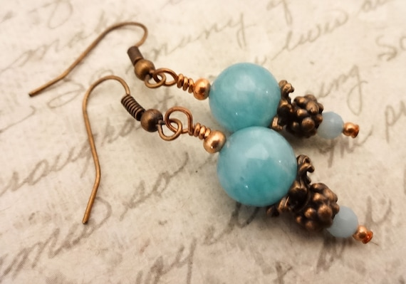 Blue Angelite Gemstone Earrings with Copper
