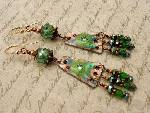 Artisan Enamel Earrings, Green Earrings, Artisan Earrings, Green Enamel Earrings, One of a Kind Earrings