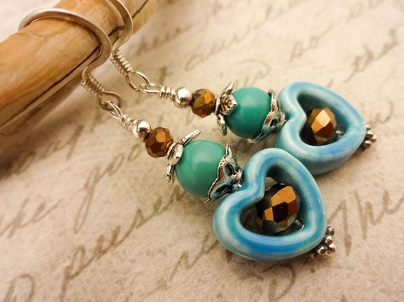 Turquoise and Ceramic Earrings, Boho Gemstone Earrings, Turquoise Earrings, Blue Heart Earrings, Turquoise Jewelry, Gift for Her