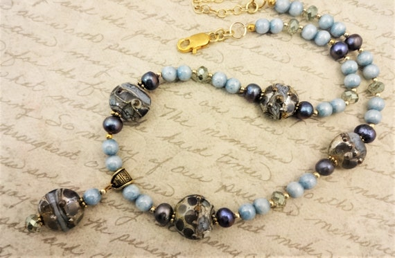 Statement Necklace With Artisan Lampwork, Pearls and Czech Glass in Light Blue and Moss Green