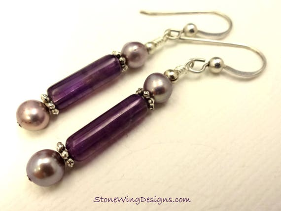 Amethyst Tubes and Lavender Pearl Earrings, February Birthstone
