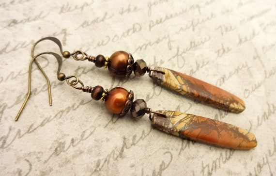 Long Cherry Creek Jasper and Pearl Artisan Earrings, Burnt Orange and Brown Earrings, Gemstones, Pearls and Glass
