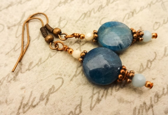 Blue Apatite Gemstone Earrings, Blue Stone Earrings, Blue Gemstone Jewelry, Copper and Stone Earrings,Gift for Her