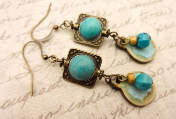 Turquoise and artisan ceramic Earrings, Boho Gemstone Earrings, Turquoise and Antique Brass Bohemian Earrings