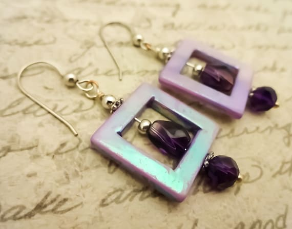 Amethyst and Lavender Mother of Pearl Earrings with Sterling Silver, February Birthstone, Purple Gemstone Earrings