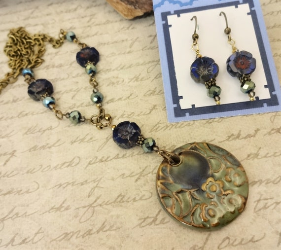 Artisan Pendant and Czech Glass Necklace, Flower Necklace in Dark Blue and Green, Gift for Her