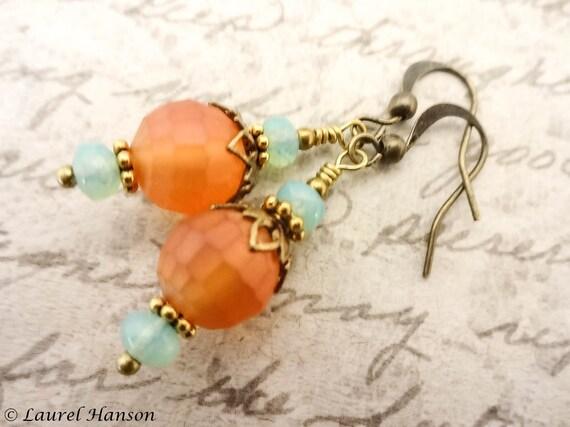 Orange and Mint Green Earrings, Boho Rustic Earrings, Antique Brass Earrings, Gift for Her, Gift or Wife or Girlfriend