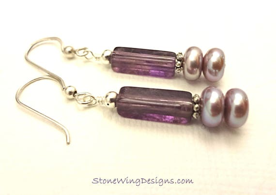 Amethyst Rectangles and Lavender Pearl Earrings, February Birthstone