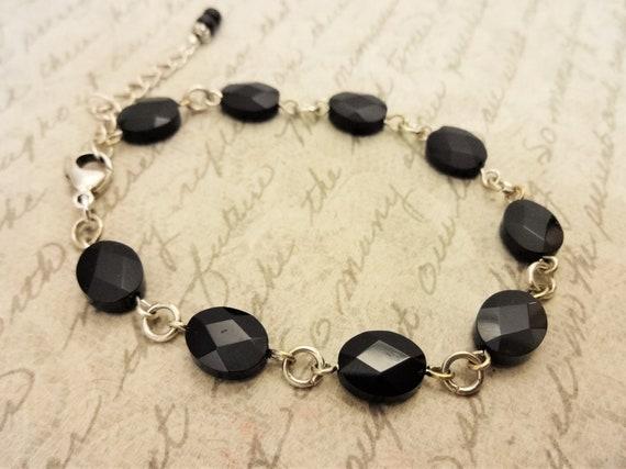 Black Onyx Bracelet, Black Gemstone Links Bracelet, Mother's Day Gift, Gift for Her, Gift for Mom