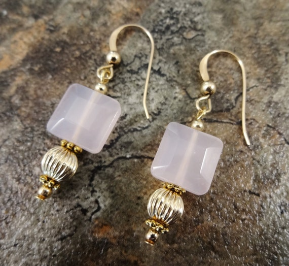 Rose Quartz Earrings, Rose Quartz Jewelry, Blush Earrings, Blush Jewelry, Natural Gemstone, Gift for Her, Romantic Gift, Gift for Wife