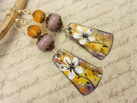 Artisan Enamel Earrings, Gold and Purple One of a Kind Artisan Earrings, Handmade Earrings, Gift for Her