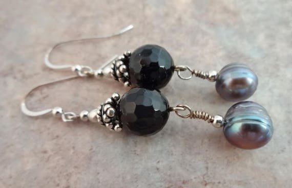 Black Onyx Earrings, Pearl and Gemstone, Black and Gray, Black Gemstone, Peacock Pearls, Gemstone Earrings, Sterling Silver and Black Onyx