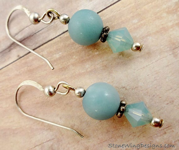 Minimalist Amazonite and Swarovski Earrings