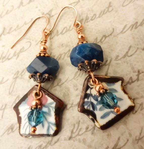 Blue Apatite and Artisan Ceramic Earrings, Blue Gemstone Earrings, Little House Earrings, Rustic Earrings, Women's Gift for Her