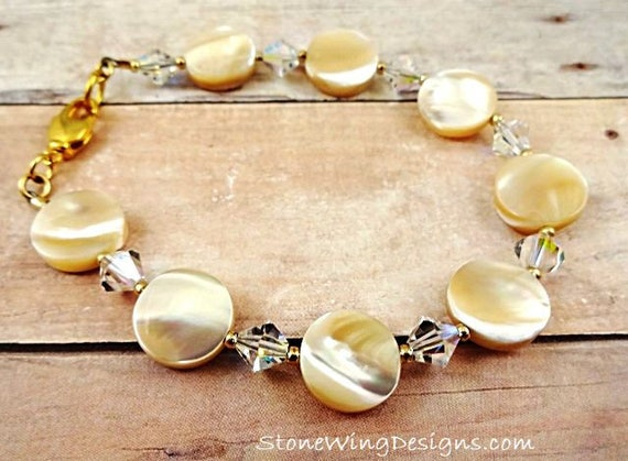 Mother of Pearl Coins and Swarovski Crystal Bracelet