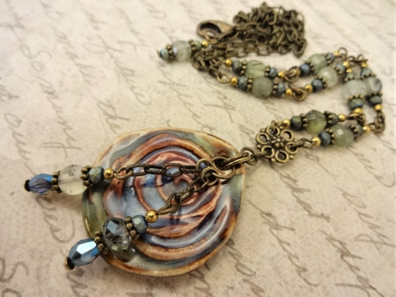 Green Brown and Blue Ceramic and Gemstone Necklace and Earrings, Artisan Jewelry with Antique Brass Metals in a Boho Set