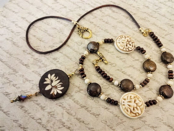 Stone Wood Leather and Bone Lotus Necklace, Bohemian Necklace in Brown and Beige with Lotus Pendant,