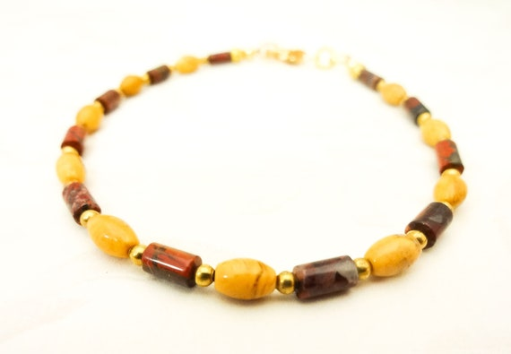 Maroon and Gold Bracelet, Dainty Bracelet, Jasper Jewelry, Boho Style Jewelry, Gemstone Bracelet, Stacking Bracelet