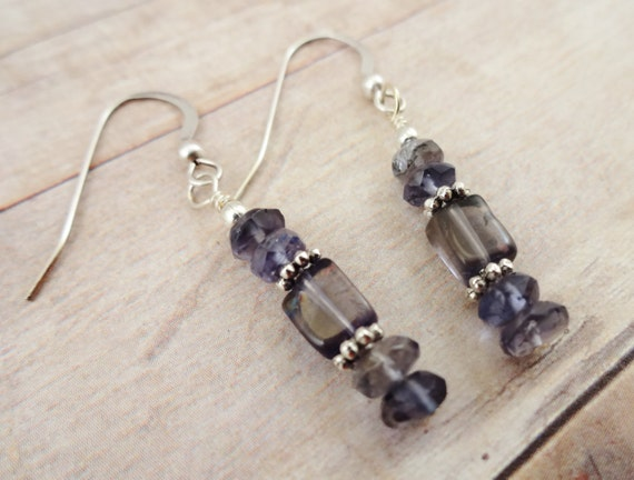 Iolite Earrings, Dark Blue Gemstone Earrings, Iolite Dangle Earrings, Blue Stone Earrings
