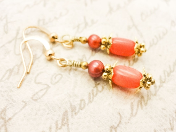 Peachy Coral and Burnt Orange Pearl Earrings, Short Dangle Earrings, Orange Gemstone Jewelry, Gift for wife, Gift for Mom