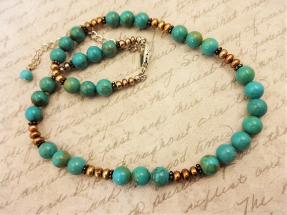 Turquoise and Pearl Necklace, Boho Luxe Necklace, Genuine Beaded Turquoise and Gold Pearl Necklace. Gift for Her