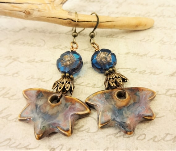 Blue Flower Earrings with Artisan Ceramic Drops, Long Boho Earrings with Czech Glass Flowers Ceramic and Antique Brass